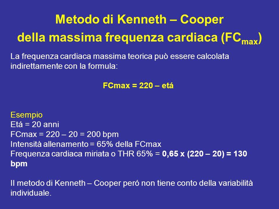Metodo di Kenneth – Cooper della massima frequenza cardiaca (FC max ) La frequenza cardiaca massima teorica può essere calcolata indirettamente con la formula: FCmax = 220 – etá Esempio Etá = 20 anni FCmax = 220 – 20 = 200 bpm Intensità allenamento = 65% della FCmax Frequenza cardiaca miriata o THR 65% = 0,65 x (220 – 20) = 130 bpm Il metodo di Kenneth – Cooper peró non tiene conto della variabilità individuale.