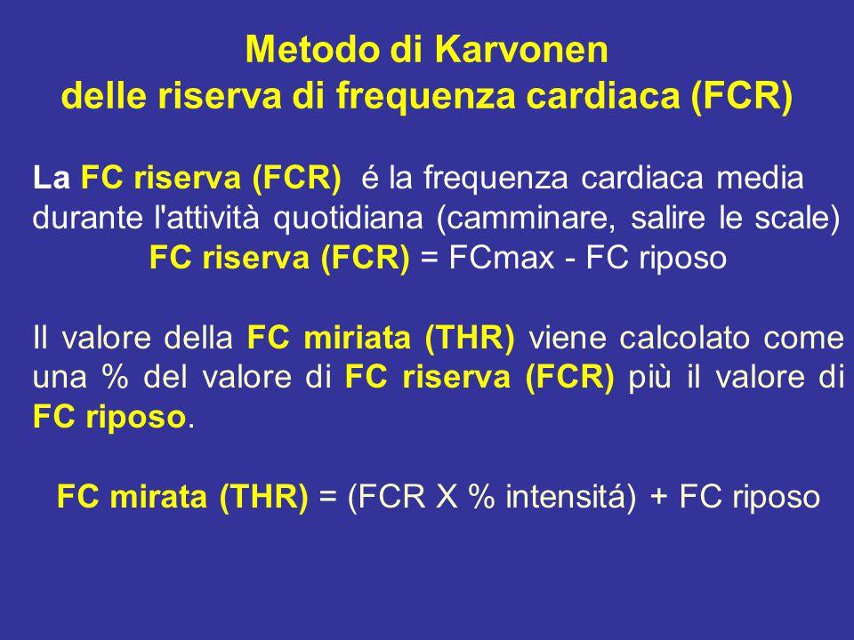 La FC riserva (FCR) é la frequenza cardiaca media durante l attività quotidiana (camminare, salire le scale) FC riserva (FCR) = FCmax - FC riposo Il valore della FC miriata (THR) viene calcolato come una % del valore di FC riserva (FCR) più il valore di FC riposo.