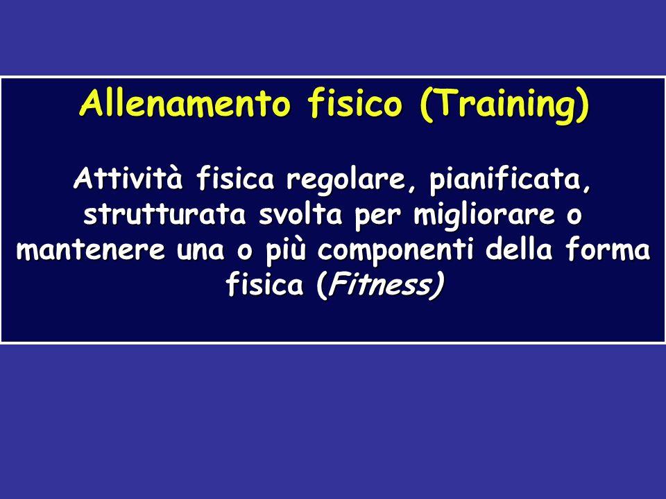 Allenamento fisico (Training) Attività fisica regolare, pianificata, strutturata svolta per migliorare o mantenere una o più componenti della forma fi