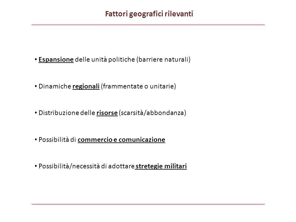 Espansione delle unità politiche (barriere naturali) Dinamiche regionali (frammentate o unitarie) Distribuzione delle risorse (scarsità/abbondanza) Po