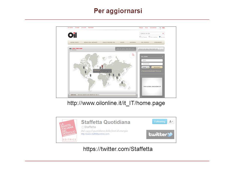 http://www.oilonline.it/it_IT/home.page https://twitter.com/Staffetta Per aggiornarsi