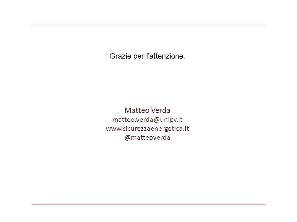 Matteo Verda matteo.verda@unipv.it www.sicurezzaenergetica.it @matteoverda Grazie per l'attenzione.