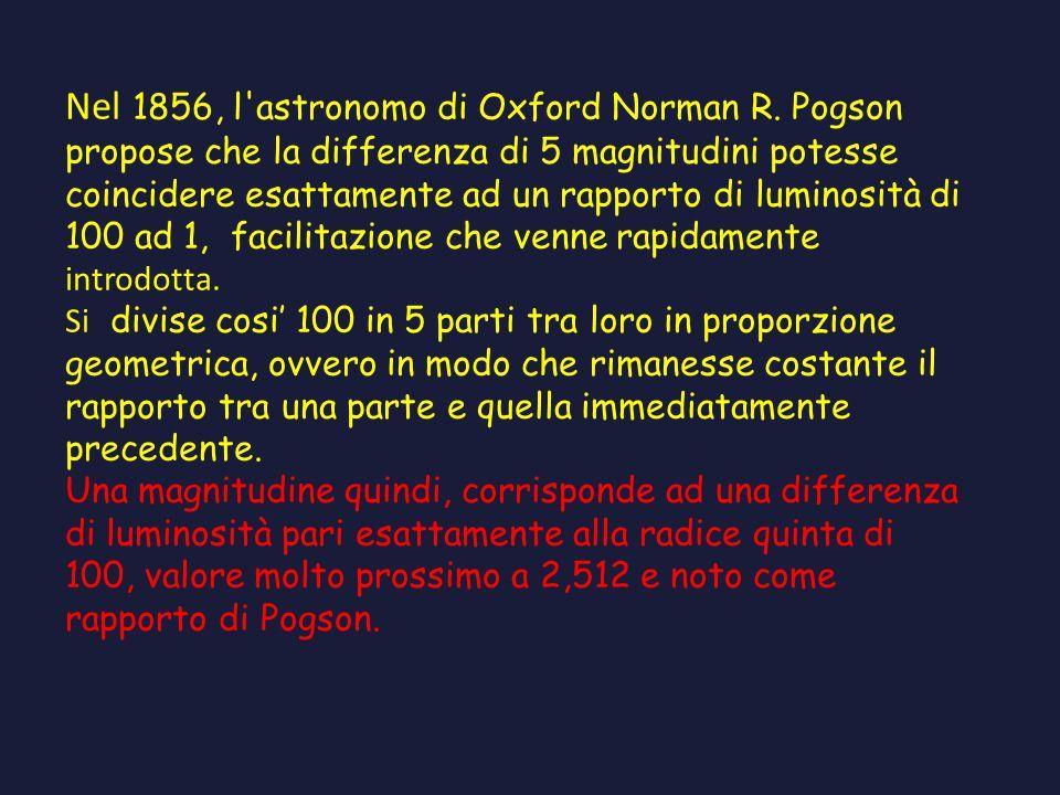 Nel 1856, l'astronomo di Oxford Norman R. Pogson propose che la differenza di 5 magnitudini potesse coincidere esattamente ad un rapporto di luminosit