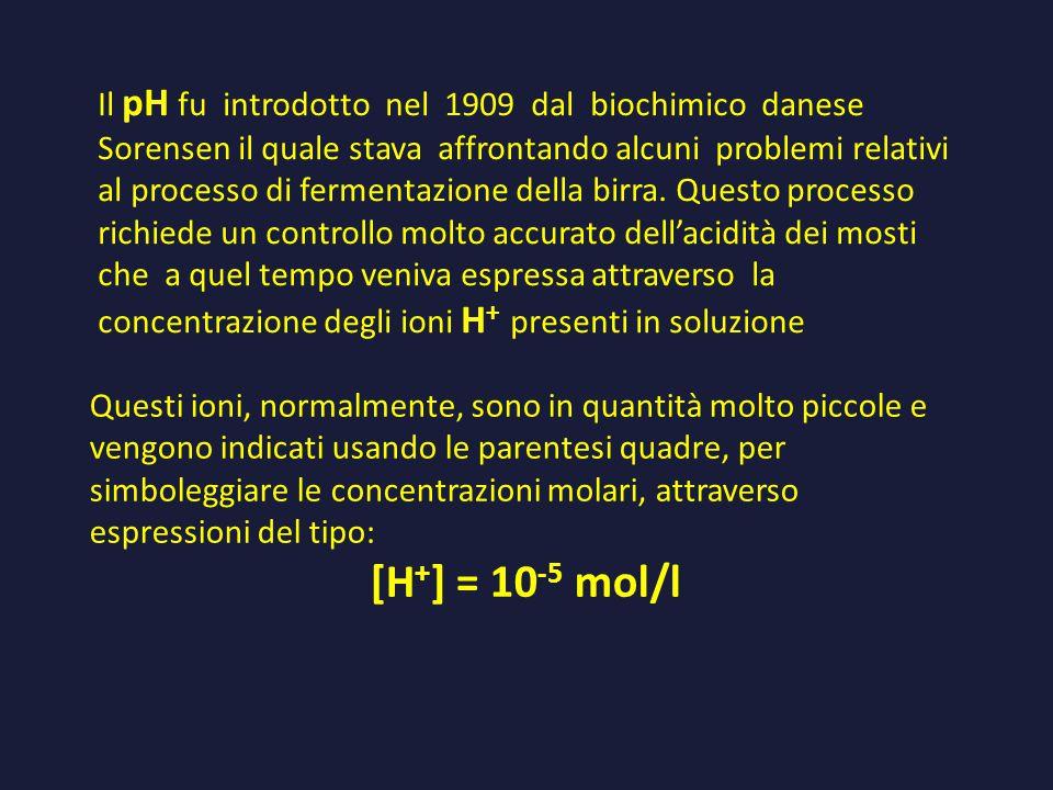 Il pH fu introdotto nel 1909 dal biochimico danese Sorensen il quale stava affrontando alcuni problemi relativi al processo di fermentazione della bir