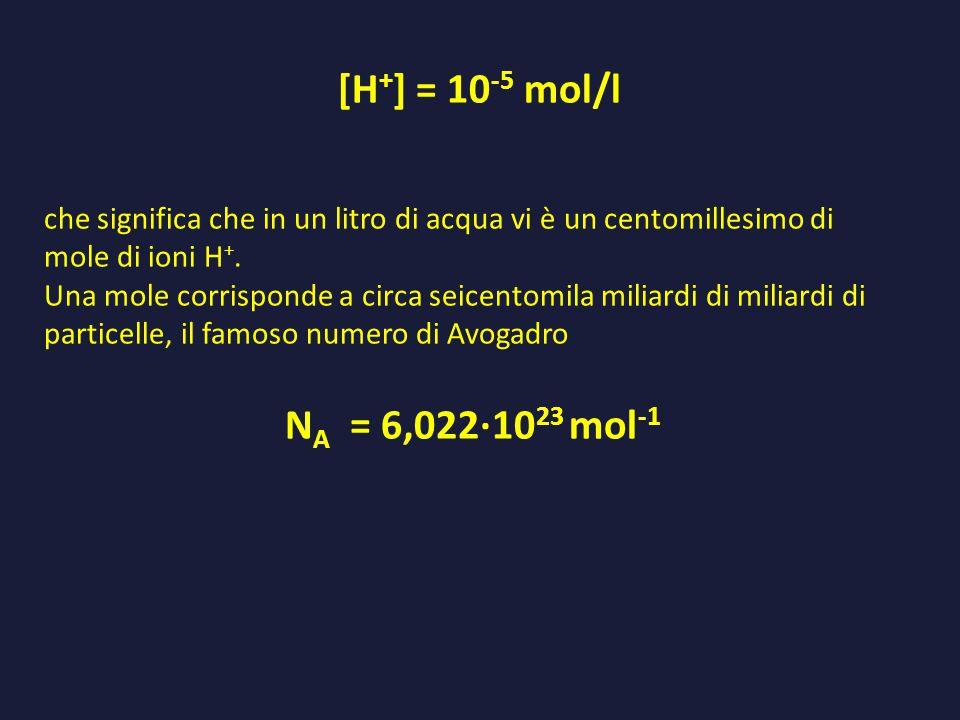 che significa che in un litro di acqua vi è un centomillesimo di mole di ioni H +. Una mole corrisponde a circa seicentomila miliardi di miliardi di p