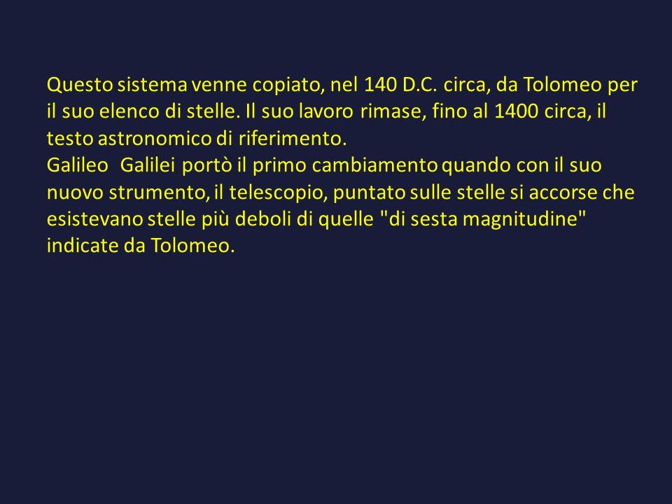 Questo sistema venne copiato, nel 140 D.C.circa, da Tolomeo per il suo elenco di stelle.
