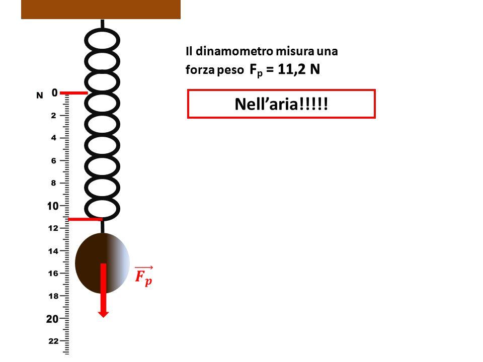 Il dinamometro misura una forza peso F p = 11,2 N Nell'aria!!!!! Il dinamometro misura una forza peso F p = 11,2 N