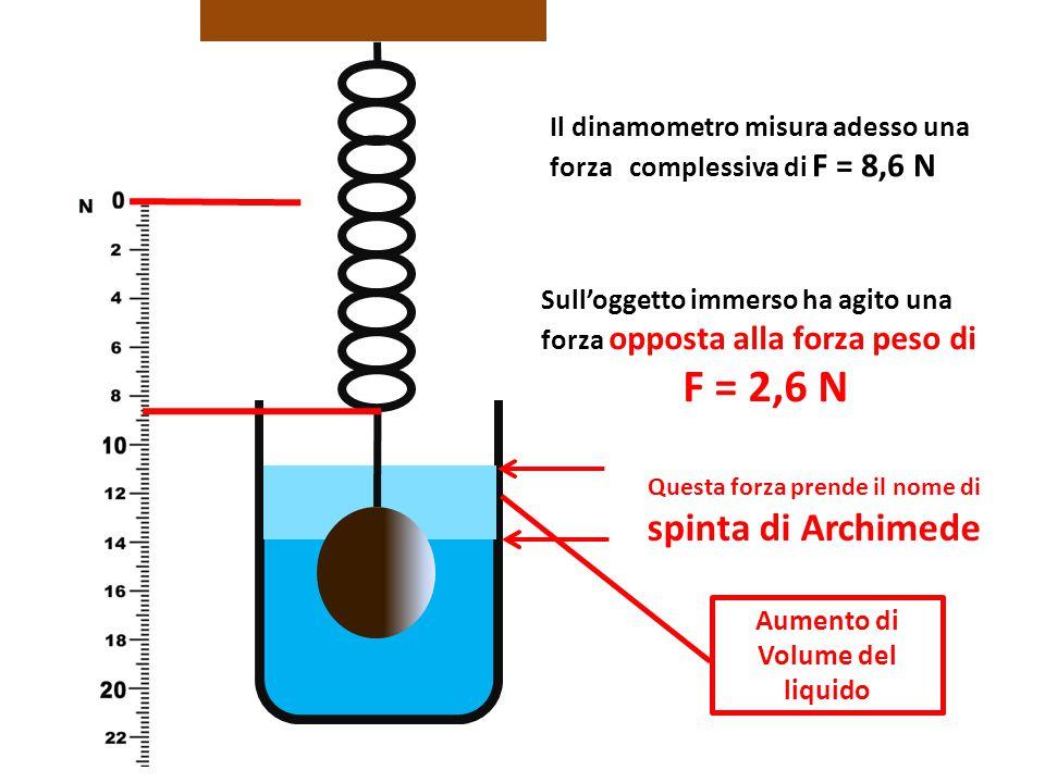 Il dinamometro misura adesso una forza complessiva di F = 8,6 N Sull'oggetto immerso ha agito una forza opposta alla forza peso di F = 2,6 N Questa fo