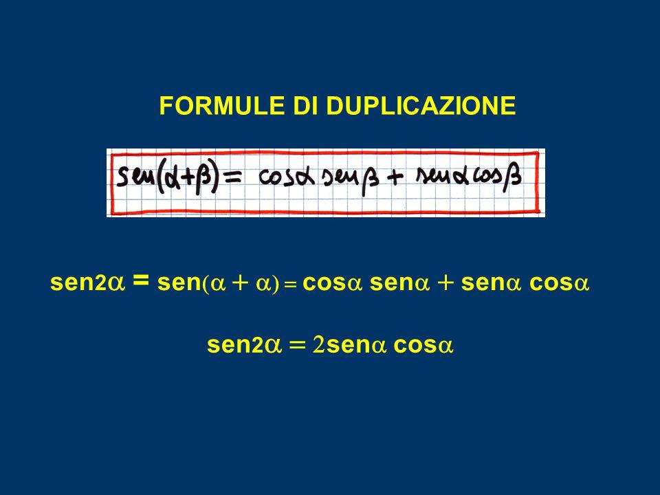 FORMULE DI DUPLICAZIONE sen 2  =  sen      cos   sen   sen   cos  sen 2   sen   cos 