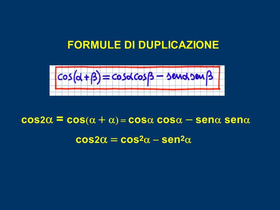 FORMULE DI DUPLICAZIONE cos 2  =  cos      cos   cos   sen   sen  cos 2  cos 2  sen 2 