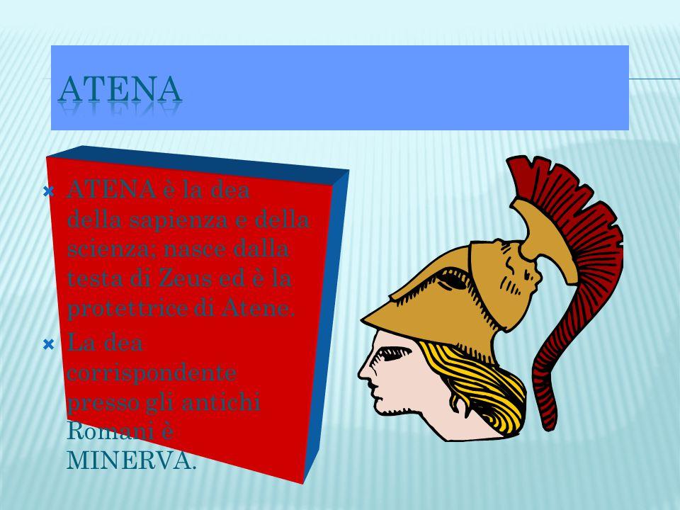  ATENA è la dea della sapienza e della scienza; nasce dalla testa di Zeus ed è la protettrice di Atene.  La dea corrispondente presso gli antichi Ro