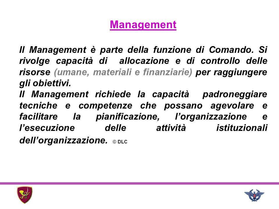 Management Il Management è parte della funzione di Comando. Si rivolge capacità di allocazione e di controllo delle risorse (umane, materiali e finanz