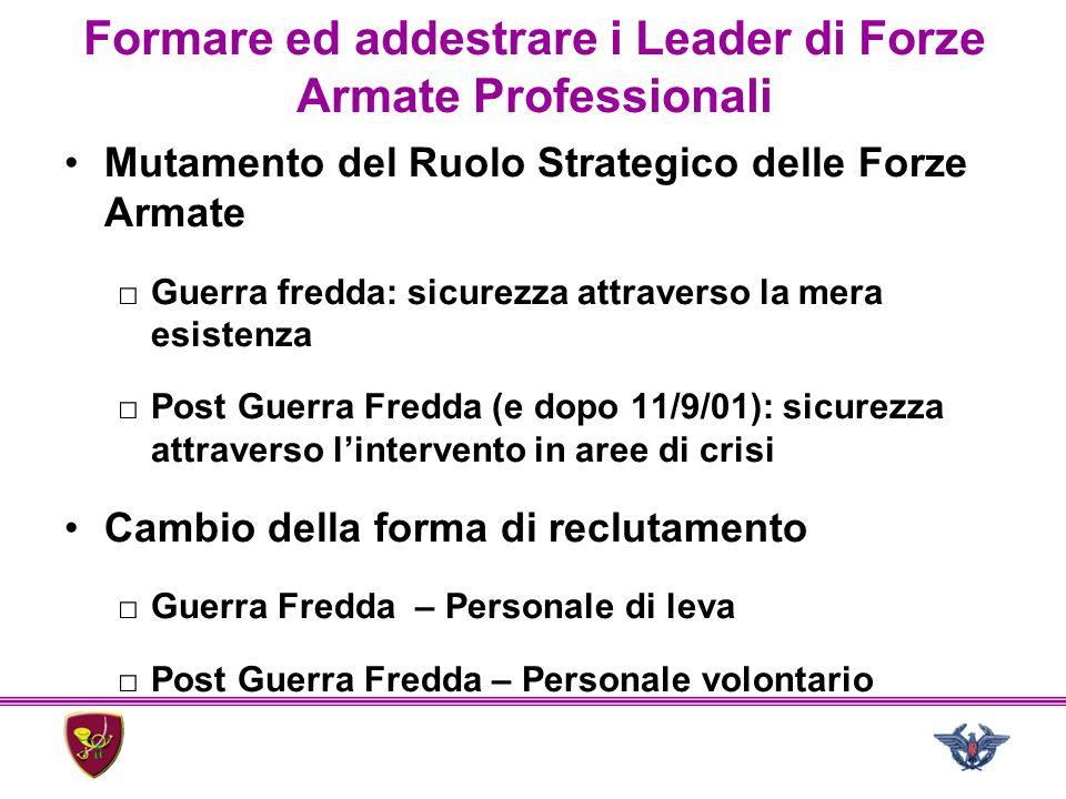 Formare ed addestrare i Leader di Forze Armate Professionali Mutamento del Ruolo Strategico delle Forze Armate □Guerra fredda: sicurezza attraverso la