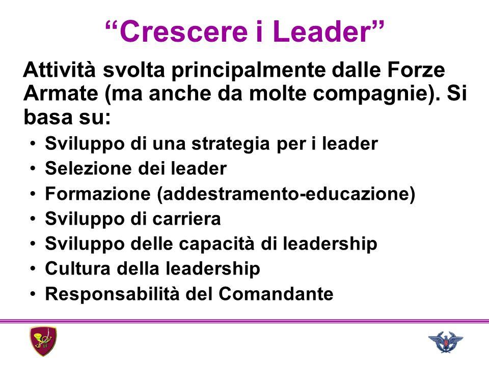 """""""Crescere i Leader"""" Attività svolta principalmente dalle Forze Armate (ma anche da molte compagnie). Si basa su: Sviluppo di una strategia per i leade"""