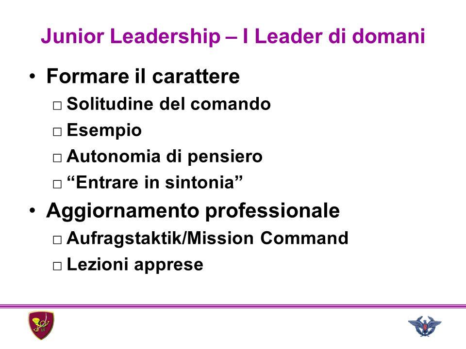 """Junior Leadership – I Leader di domani Formare il carattere □Solitudine del comando □Esempio □Autonomia di pensiero □""""Entrare in sintonia"""" Aggiornamen"""