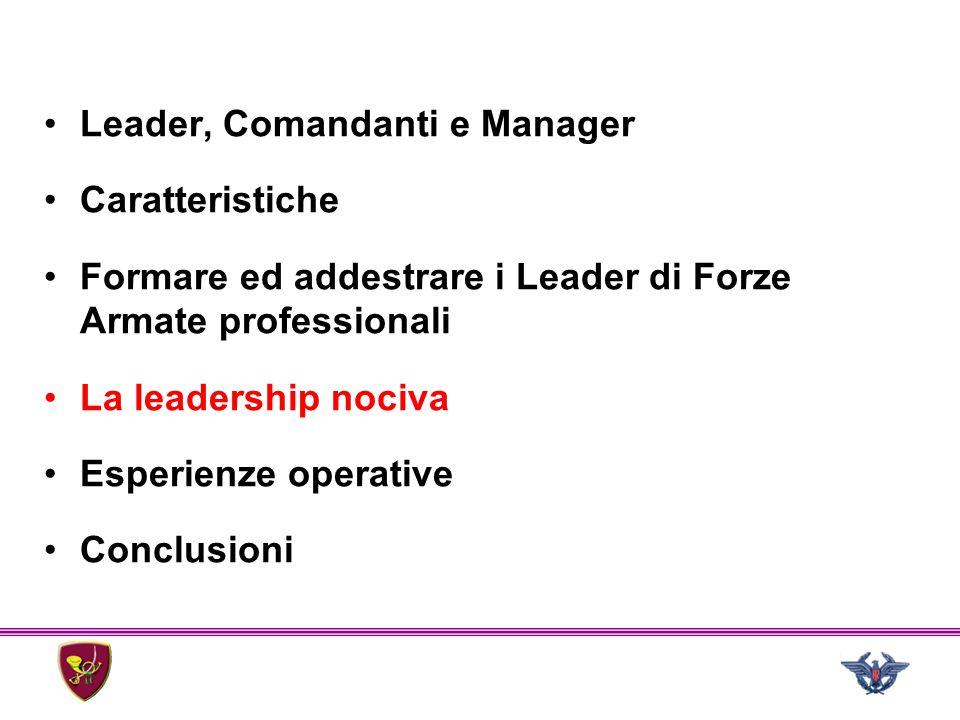 Leader, Comandanti e Manager Caratteristiche Formare ed addestrare i Leader di Forze Armate professionali La leadership nociva Esperienze operative Co