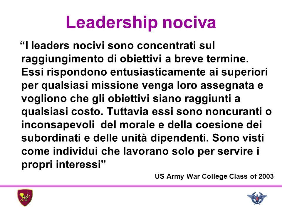 """Leadership nociva """"I leaders nocivi sono concentrati sul raggiungimento di obiettivi a breve termine. Essi rispondono entusiasticamente ai superiori p"""