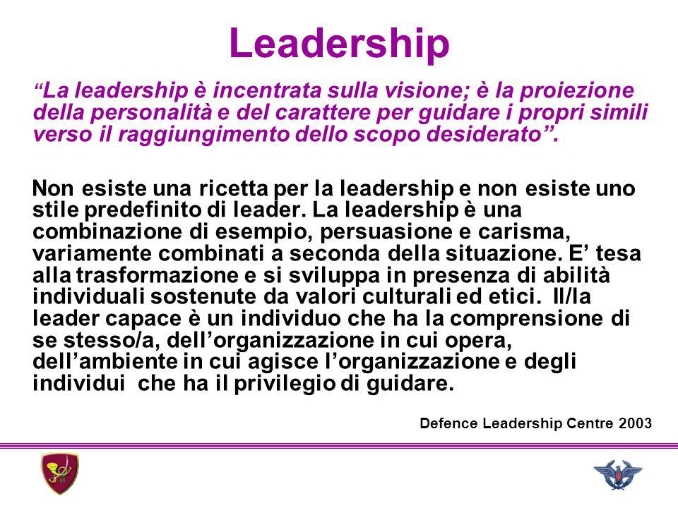 """Leadership """" La leadership è incentrata sulla visione; è la proiezione della personalità e del carattere per guidare i propri simili verso il raggiung"""
