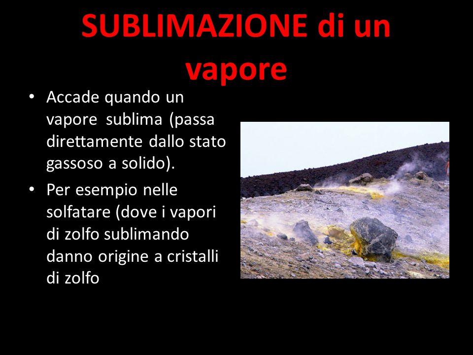 SUBLIMAZIONE di un vapore Accade quando un vapore sublima (passa direttamente dallo stato gassoso a solido).