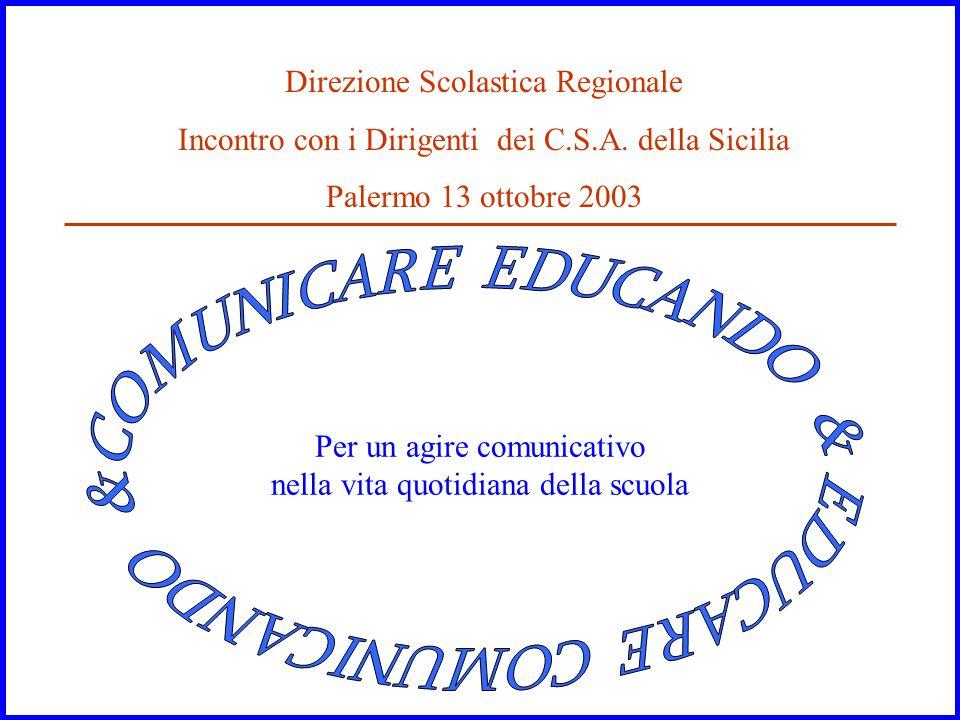 Per un agire comunicativo nella vita quotidiana della scuola Direzione Scolastica Regionale Incontro con i Dirigenti dei C.S.A. della Sicilia Palermo