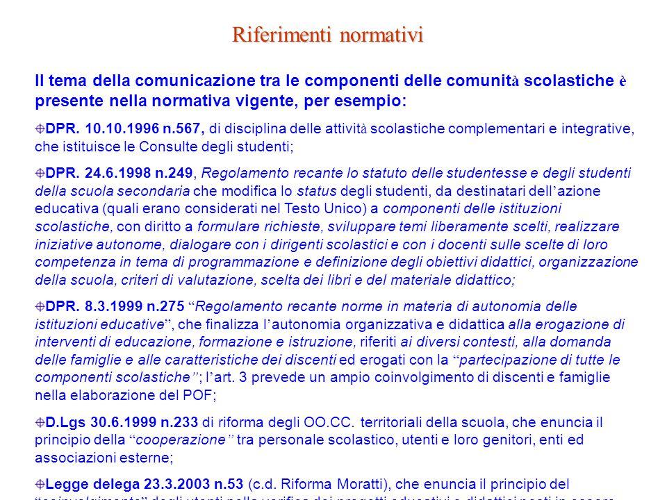 Riferimenti normativi Il tema della comunicazione tra le componenti delle comunit à scolastiche è presente nella normativa vigente, per esempio: DPR.