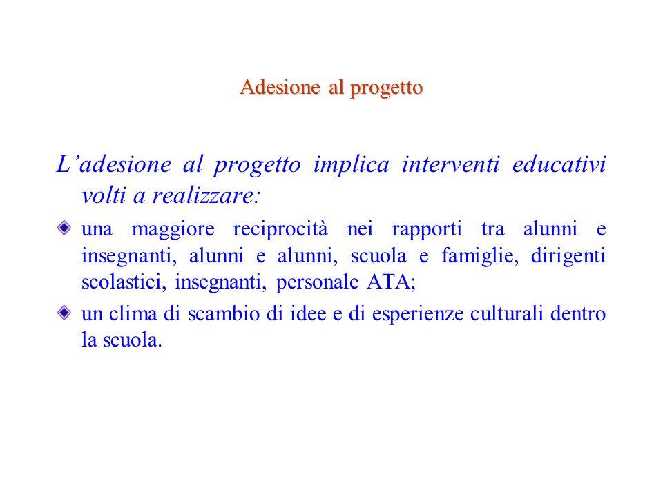 Adesione al progetto L'adesione al progetto implica interventi educativi volti a realizzare: una maggiore reciprocità nei rapporti tra alunni e insegn