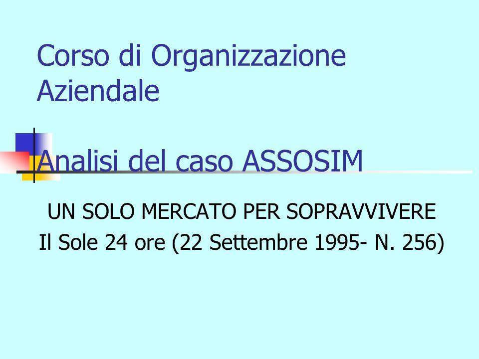 Corso di Organizzazione Aziendale Analisi del caso ASSOSIM UN SOLO MERCATO PER SOPRAVVIVERE Il Sole 24 ore (22 Settembre 1995- N.