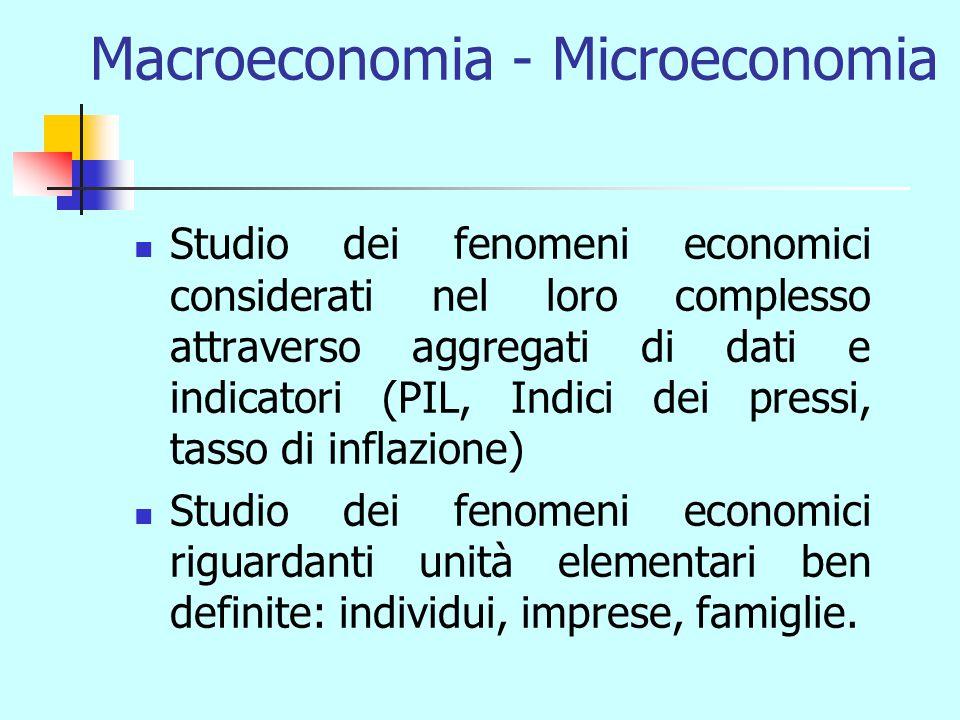 Macroeconomia - Microeconomia Studio dei fenomeni economici considerati nel loro complesso attraverso aggregati di dati e indicatori (PIL, Indici dei pressi, tasso di inflazione) Studio dei fenomeni economici riguardanti unità elementari ben definite: individui, imprese, famiglie.