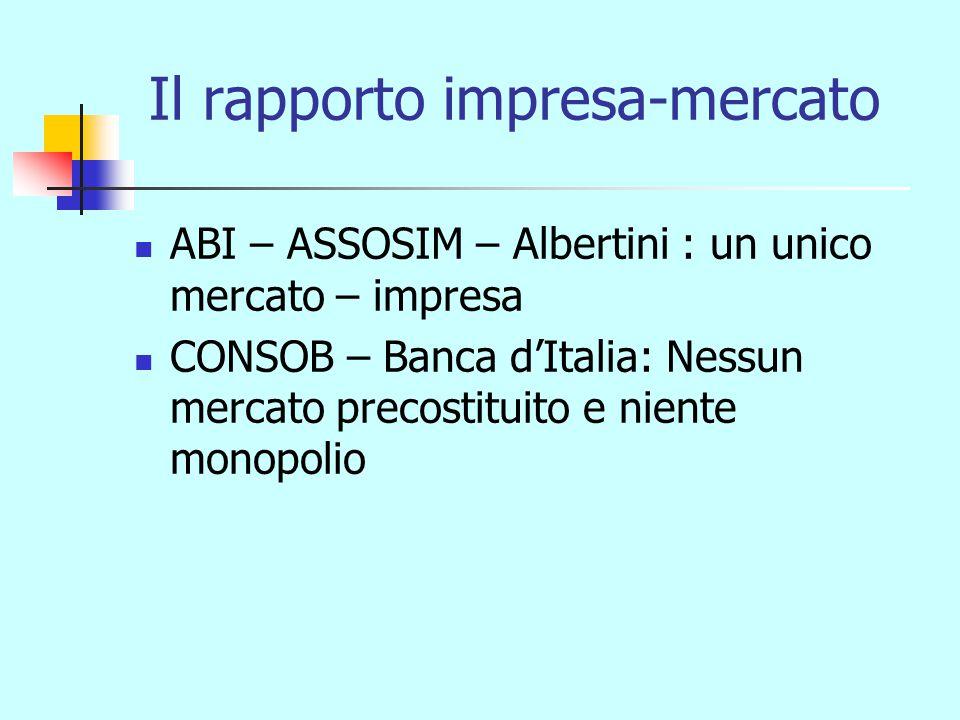 Il rapporto impresa-mercato ABI – ASSOSIM – Albertini : un unico mercato – impresa CONSOB – Banca d'Italia: Nessun mercato precostituito e niente monopolio