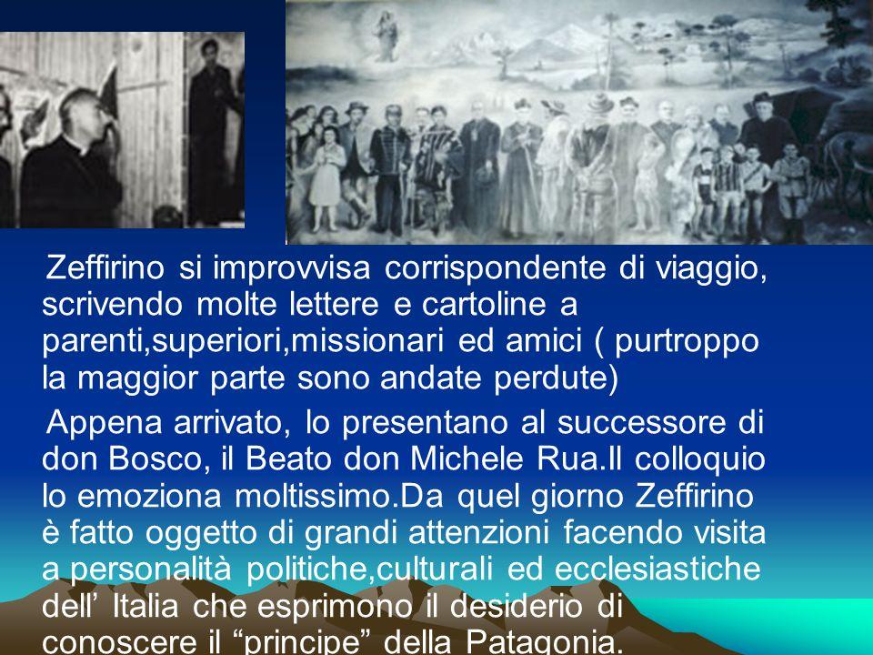 Zeffirino si improvvisa corrispondente di viaggio, scrivendo molte lettere e cartoline a parenti,superiori,missionari ed amici ( purtroppo la maggior