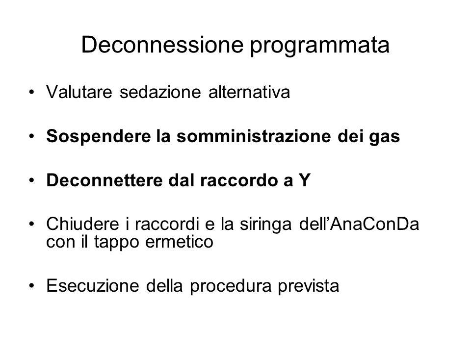 Deconnessione programmata Valutare sedazione alternativa Sospendere la somministrazione dei gas Deconnettere dal raccordo a Y Chiudere i raccordi e la