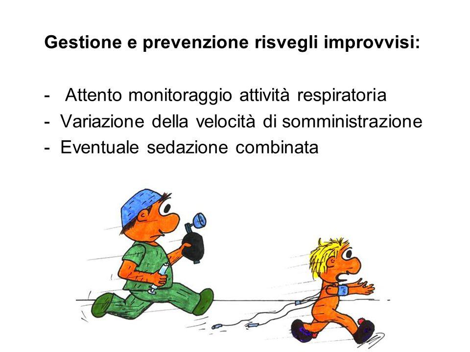 Gestione e prevenzione risvegli improvvisi: - Attento monitoraggio attività respiratoria - Variazione della velocità di somministrazione - Eventuale s