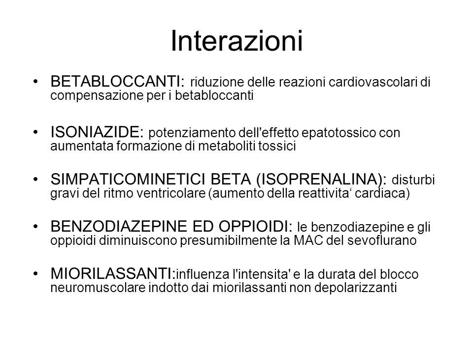 Interazioni BETABLOCCANTI: riduzione delle reazioni cardiovascolari di compensazione per i betabloccanti ISONIAZIDE: potenziamento dell'effetto epatot