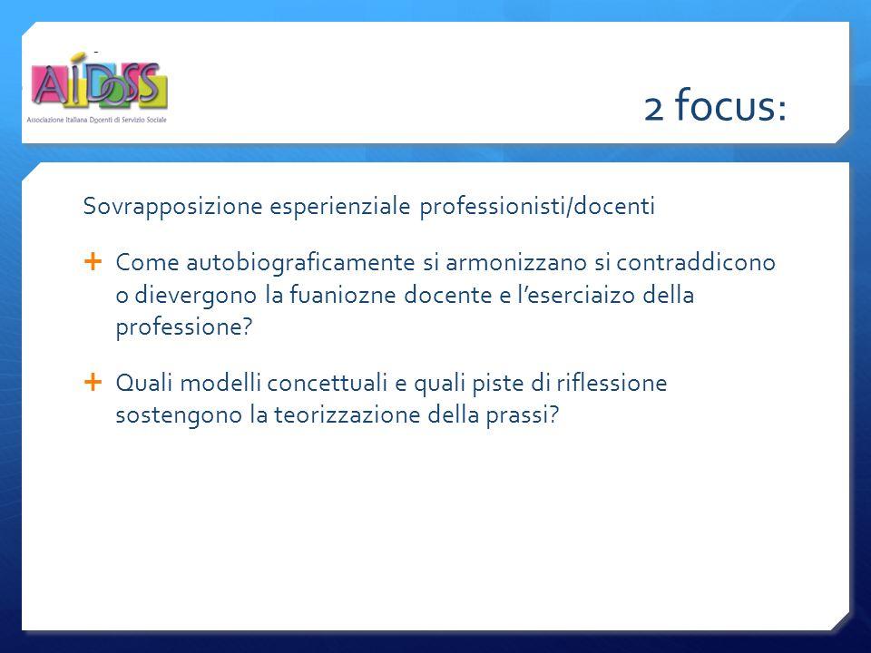 2 focus: Sovrapposizione esperienziale professionisti/docenti  Come autobiograficamente si armonizzano si contraddicono o dievergono la fuaniozne docente e l'eserciaizo della professione.