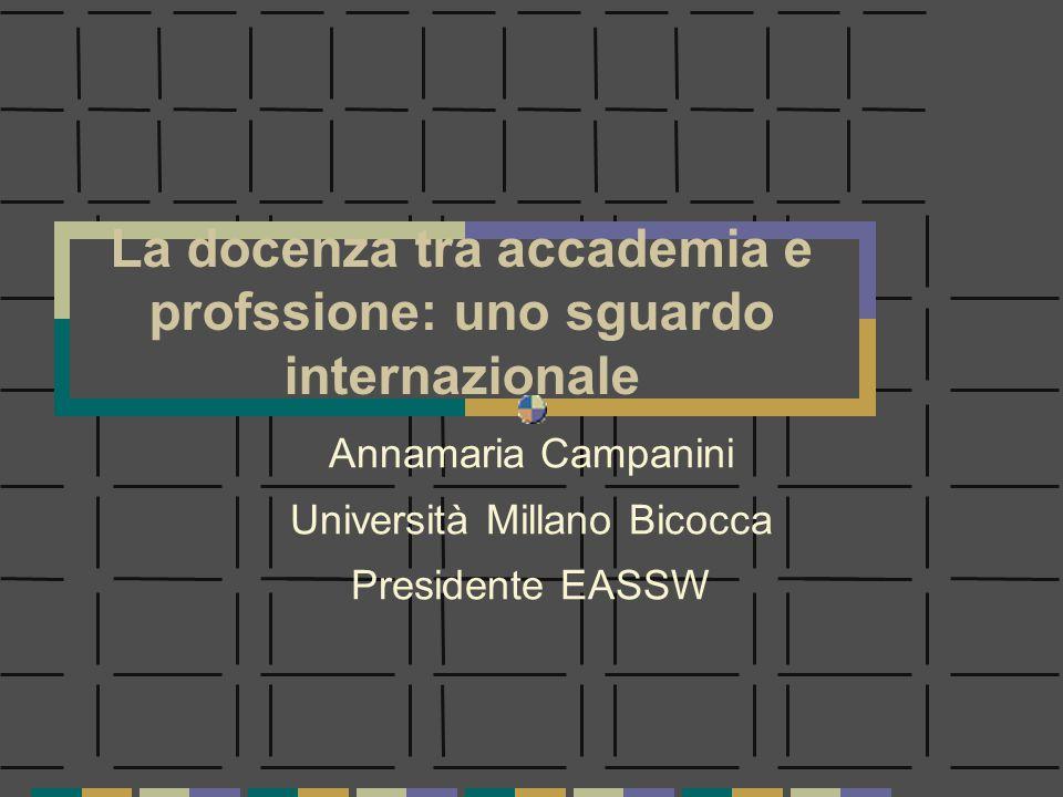 La docenza tra accademia e profssione: uno sguardo internazionale Annamaria Campanini Università Millano Bicocca Presidente EASSW