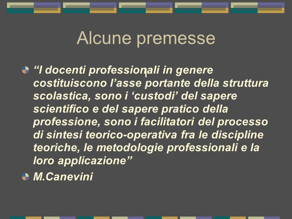 I Alcune premesse I docenti professionali in genere costituiscono l'asse portante della struttura scolastica, sono i 'custodi' del sapere scientifico e del sapere pratico della professione, sono i facilitatori del processo di sintesi teorico-operativa fra le discipline teoriche, le metodologie professionali e la loro applicazione M.Canevini