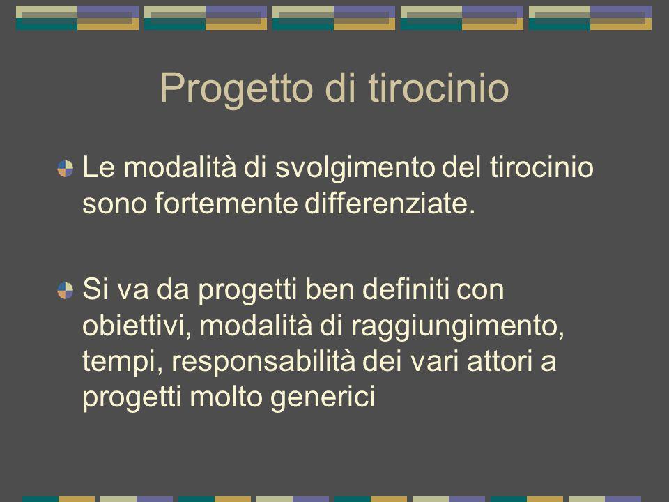 Progetto di tirocinio Le modalità di svolgimento del tirocinio sono fortemente differenziate.