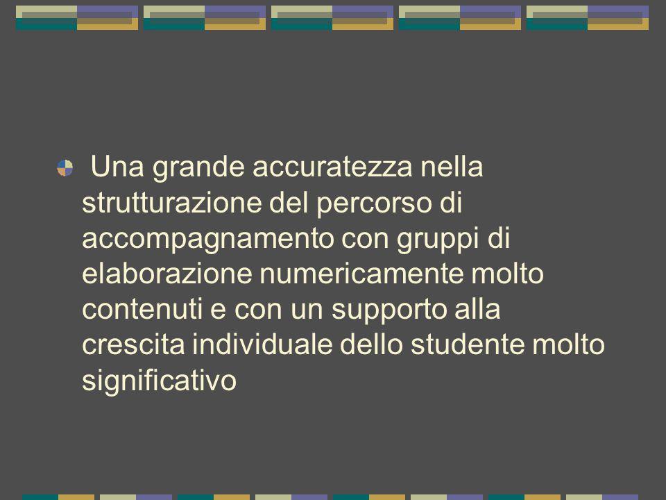 Una grande accuratezza nella strutturazione del percorso di accompagnamento con gruppi di elaborazione numericamente molto contenuti e con un supporto alla crescita individuale dello studente molto significativo