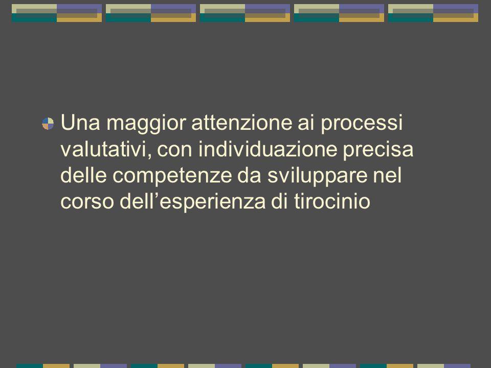 Una maggior attenzione ai processi valutativi, con individuazione precisa delle competenze da sviluppare nel corso dell'esperienza di tirocinio