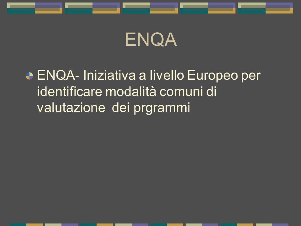ENQA ENQA- Iniziativa a livello Europeo per identificare modalità comuni di valutazione dei prgrammi