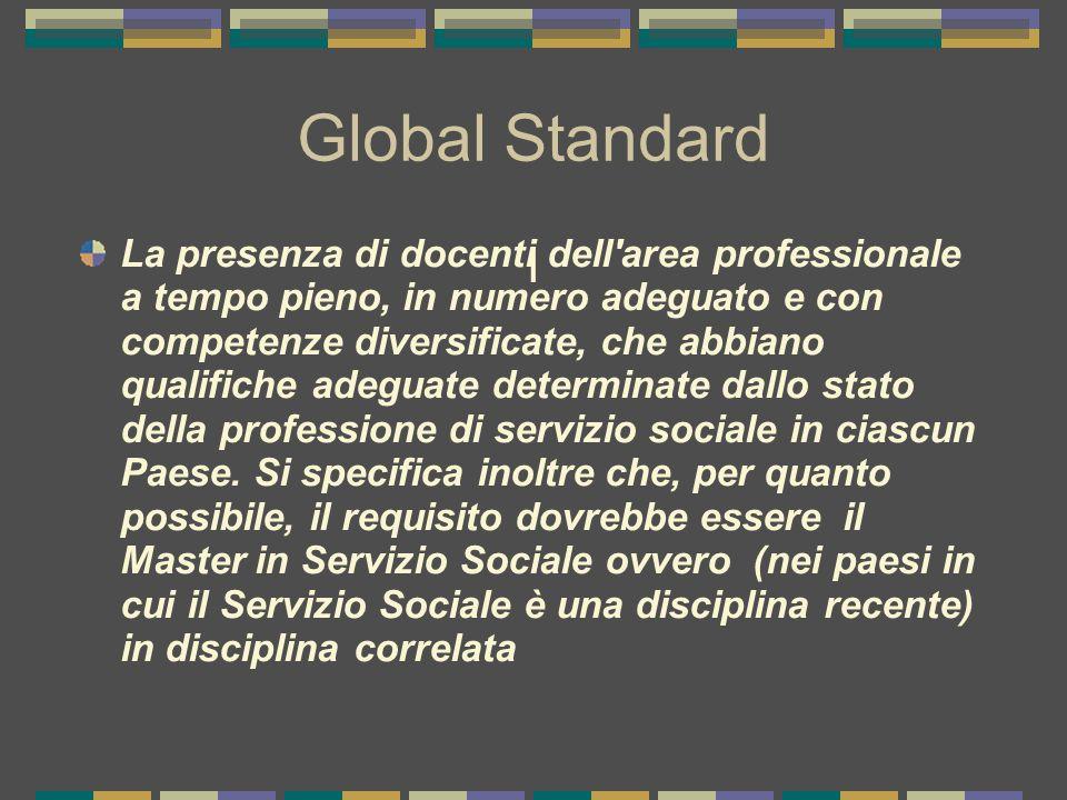 I Global Standard La presenza di docenti dell area professionale a tempo pieno, in numero adeguato e con competenze diversificate, che abbiano qualifiche adeguate determinate dallo stato della professione di servizio sociale in ciascun Paese.