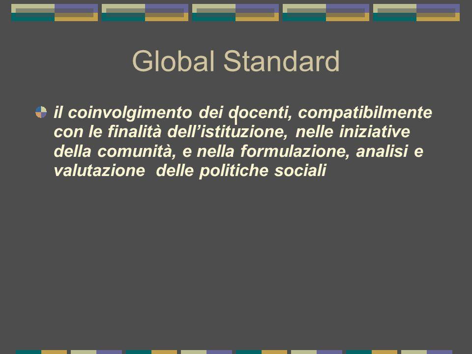 I Global Standard il coinvolgimento dei docenti, compatibilmente con le finalità dell'istituzione, nelle iniziative della comunità, e nella formulazione, analisi e valutazione delle politiche sociali
