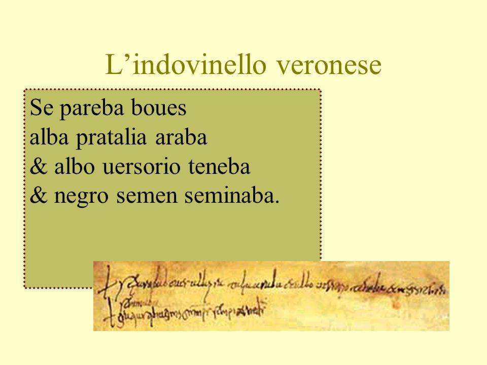 L'indovinello veronese Se pareba boues alba pratalia araba & albo uersorio teneba & negro semen seminaba.