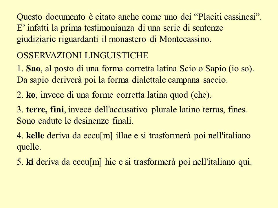 """Questo documento è citato anche come uno dei """"Placiti cassinesi"""". E' infatti la prima testimonianza di una serie di sentenze giudiziarie riguardanti i"""