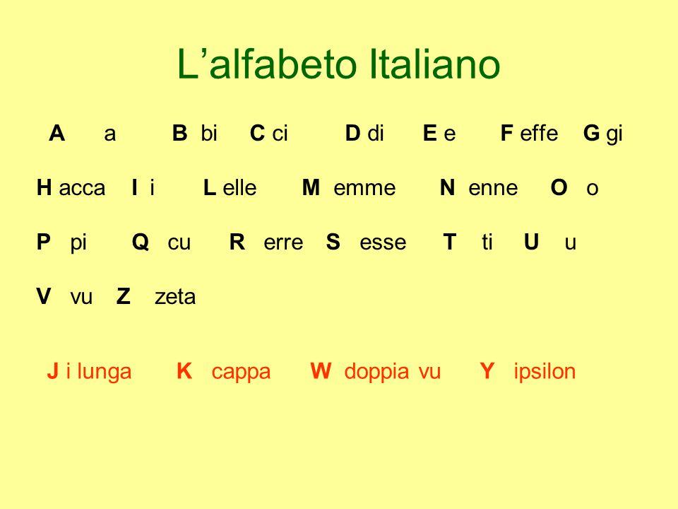 L'alfabeto Italiano AaB bi C ci D di E e F effe G gi H acca I i L elle M emme N enne O o P pi Q cu R erre S esseT ti U u V vu Z zeta J i lunga K cappa