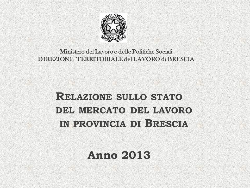 R ELAZIONE SULLO STATO DEL MERCATO DEL LAVORO IN PROVINCIA DI B RESCIA Anno 2013 Ministero del Lavoro e delle Politiche Sociali DIREZIONE TERRITORIALE