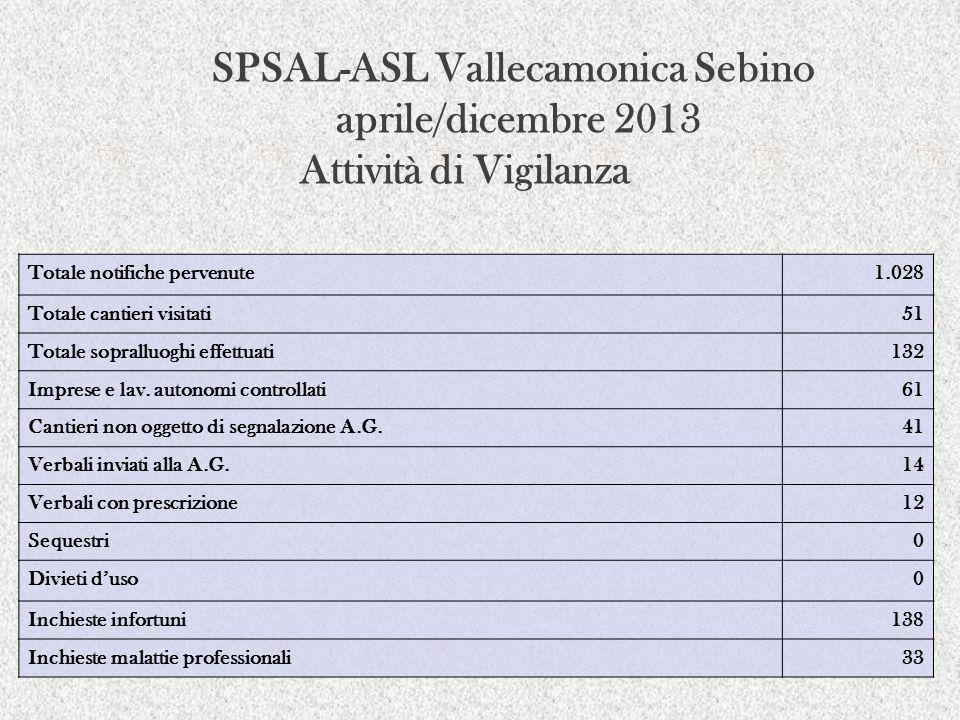 SPSAL-ASL Vallecamonica Sebino aprile/dicembre 2013 Attività di Vigilanza Totale notifiche pervenute1.028 Totale cantieri visitati51 Totale sopralluog