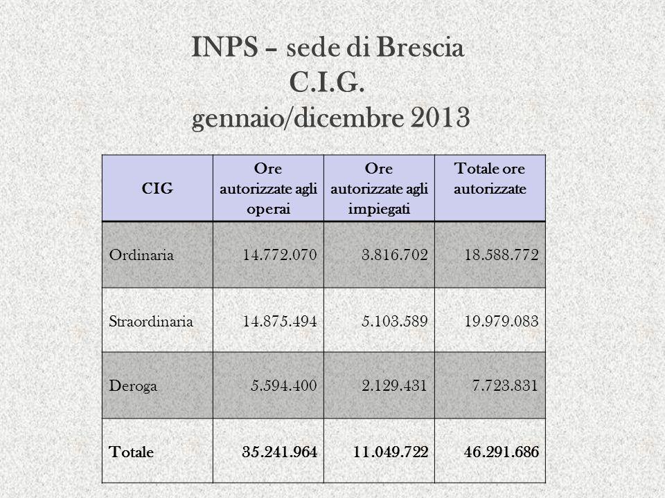 INPS – sede di Brescia C.I.G. gennaio/dicembre 2013 CIG Ore autorizzate agli operai Ore autorizzate agli impiegati Totale ore autorizzate Ordinaria14.