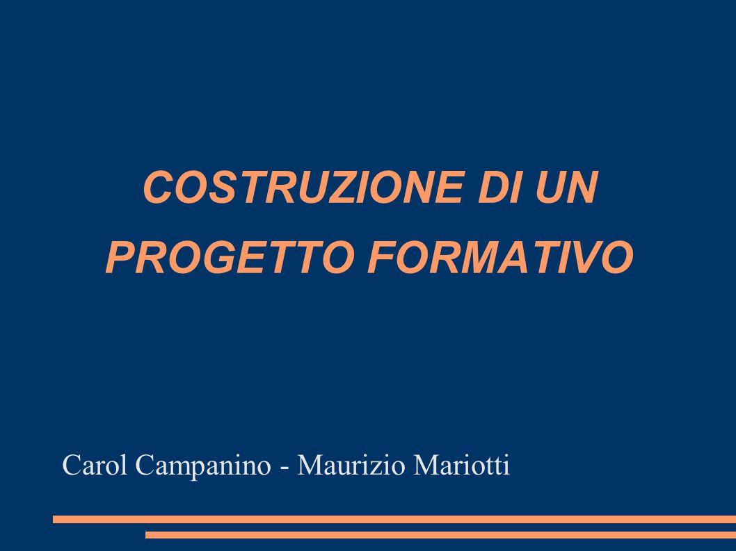 COSTRUZIONE DI UN PROGETTO FORMATIVO Carol Campanino - Maurizio Mariotti
