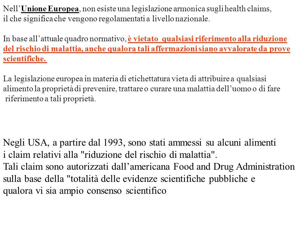 Negli USA, a partire dal 1993, sono stati ammessi su alcuni alimenti i claim relativi alla riduzione del rischio di malattia .